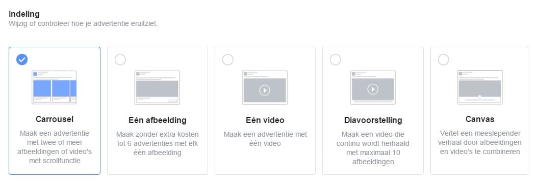 Soorten advertenties Facebook